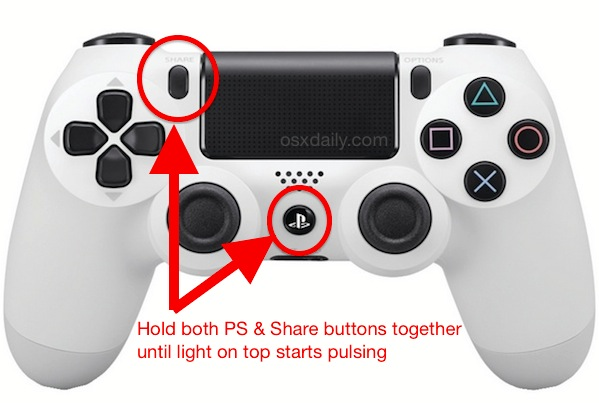Connect the PS4 Controller to the Mac by putting it into pairing mode