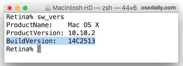 Find the build number of Mac OS X from the command line with sw_vers