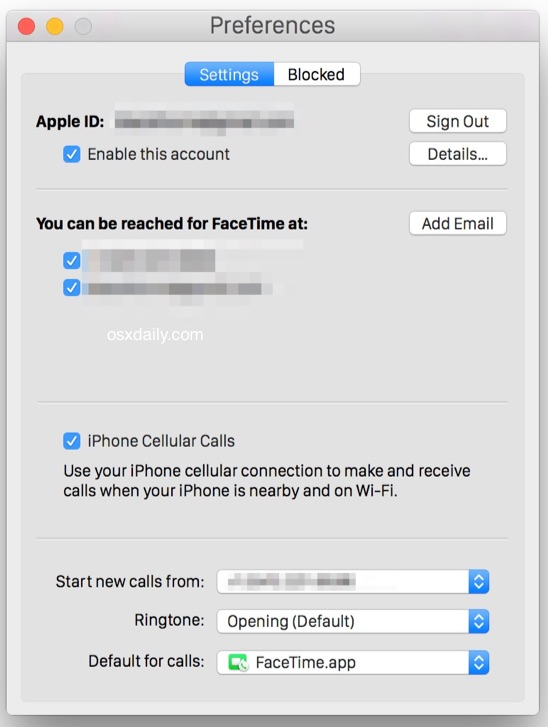 Enable cell phone calls on the Mac