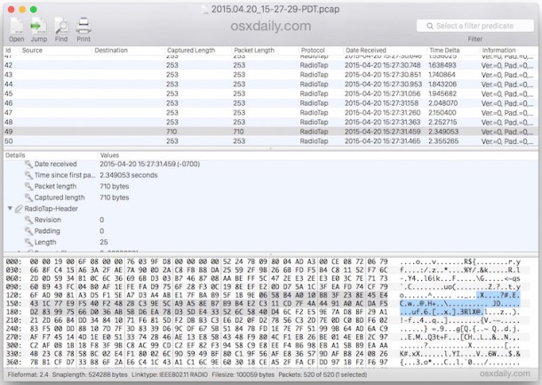 Reading a Captured PCAP WCAP Package Tracking File in Mac OS X Using the Cocoa Packet Analyzer App