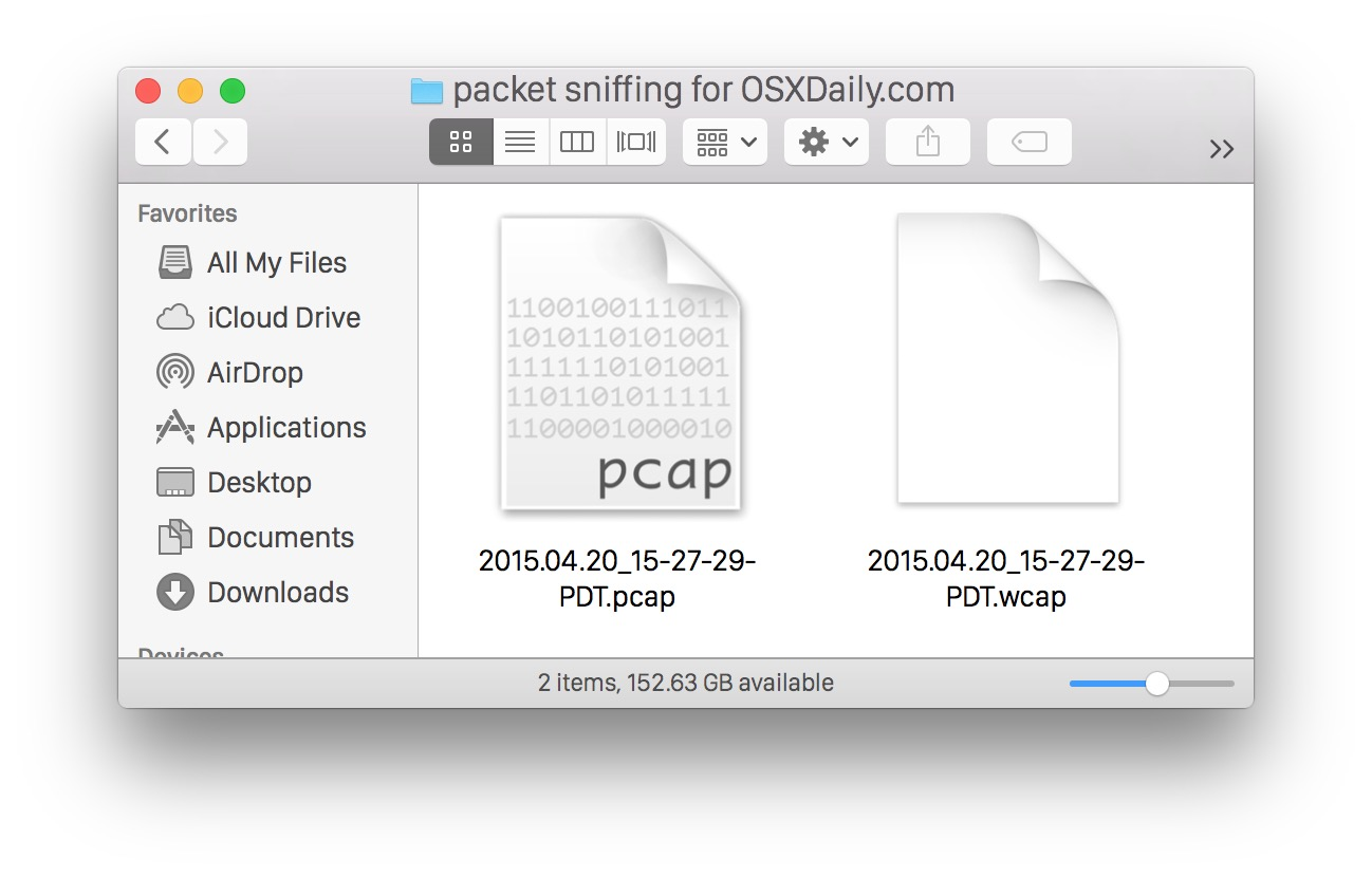 Packages included WCAP and PCAP files from the Mac OS X packages sniffer
