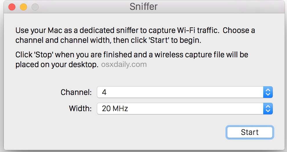 Start sniffing packets for channels to capture packets in Mac OS X