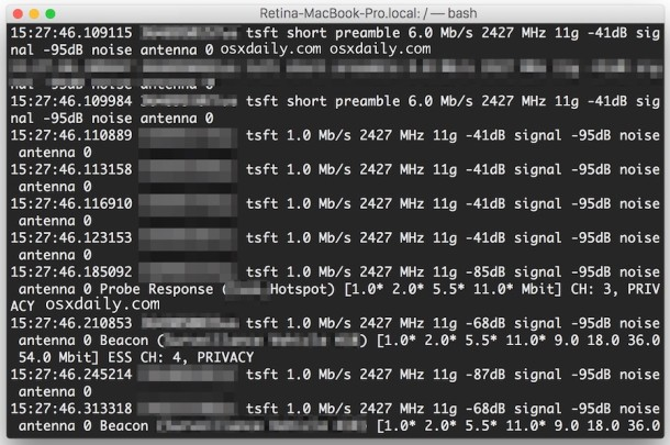 Read a pcap file in the Mac OS X command line
