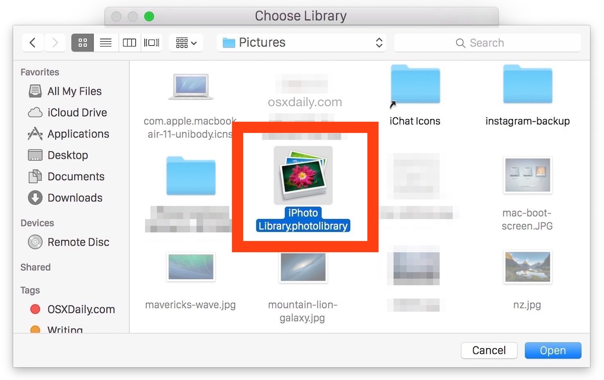 Select the iPhoto library to migrate to Mac OS X Photos app
