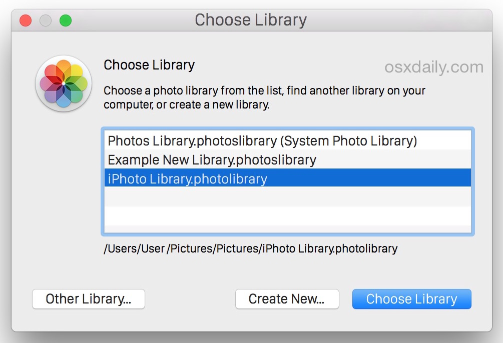 Select an iPhoto library to move it to OS X's Photos app