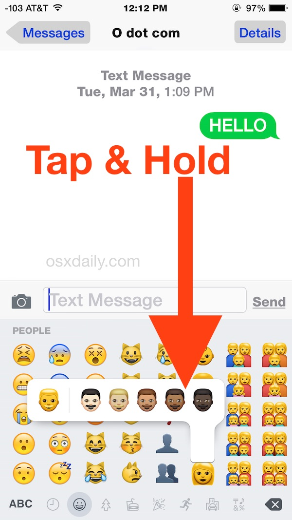 Access the different Emoji skin tone variations on iPhone