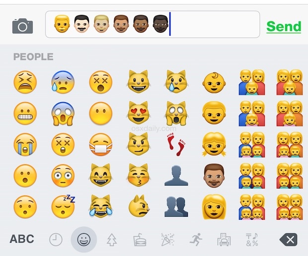 Type in the new Emoji skin tone variations