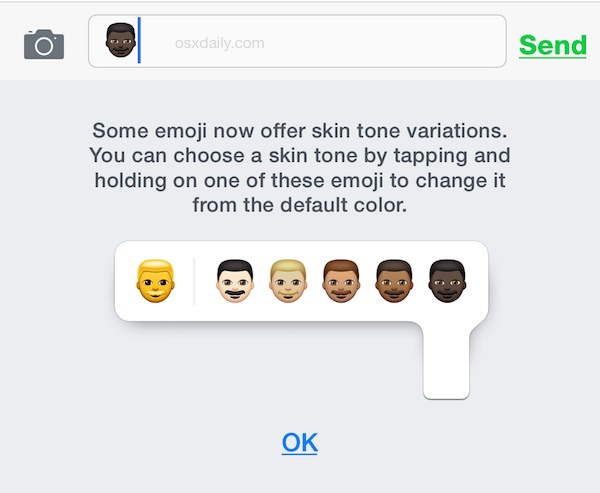 The explanation of the Emoji skin tone variation for iOS
