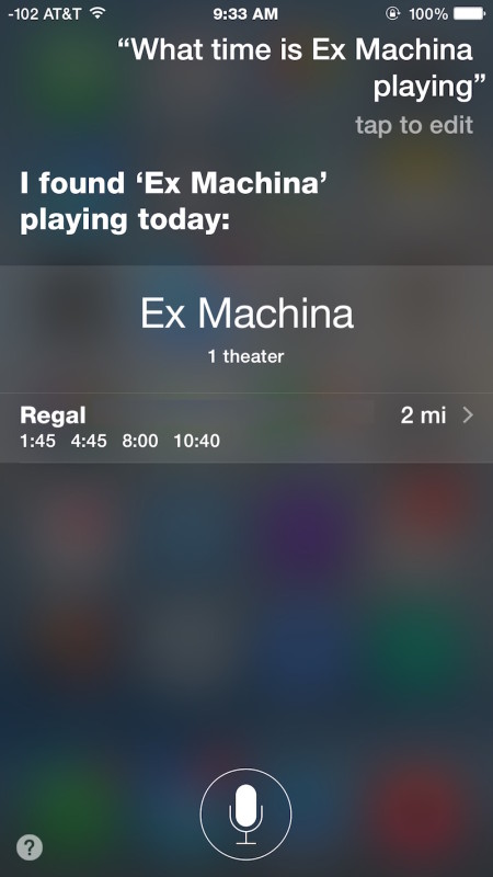 What time does a specific movie play with Siri