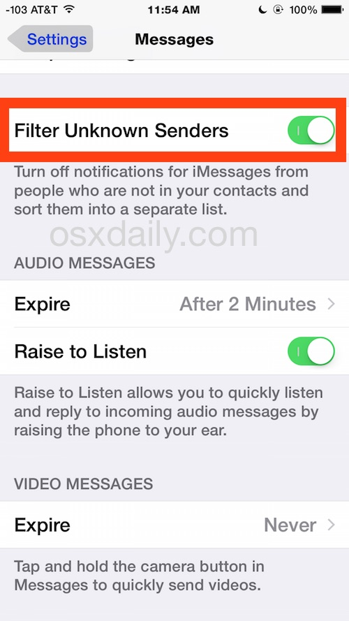 Filter unknown senders in iOS in another messaging app inbox