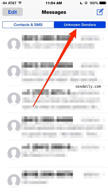 Message window for unknown senders in iOS, filtered from Contacts