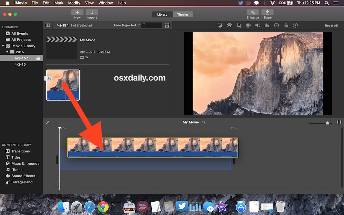Put the movie in the timeline in iMovie as an intuitive user interface would suggest