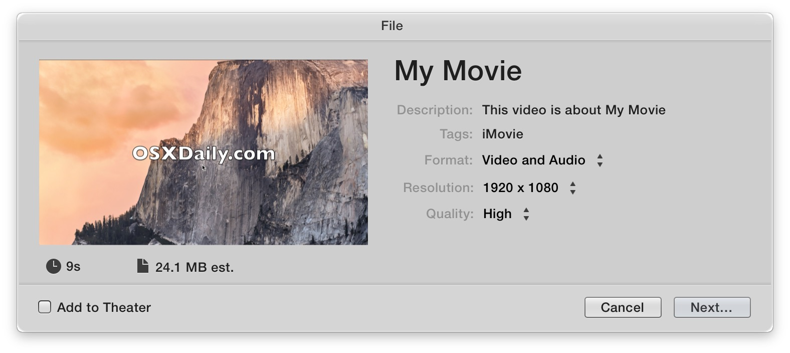 Saving a video with iMovie for Mac OS X is a unique experience of saving files through a Share menu