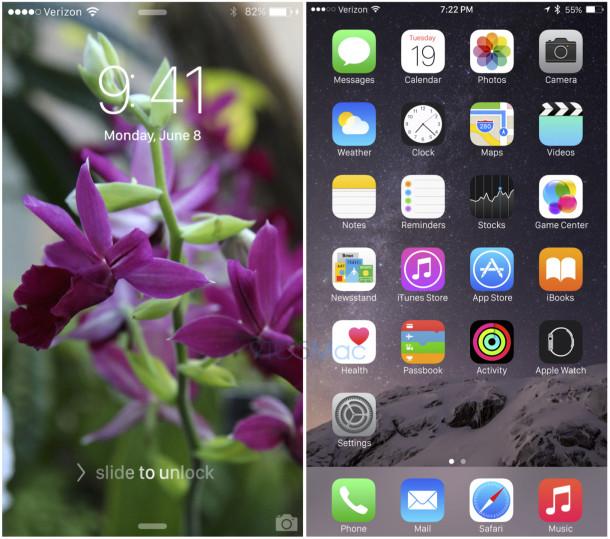 iOS 9 mockup with San Francisco font