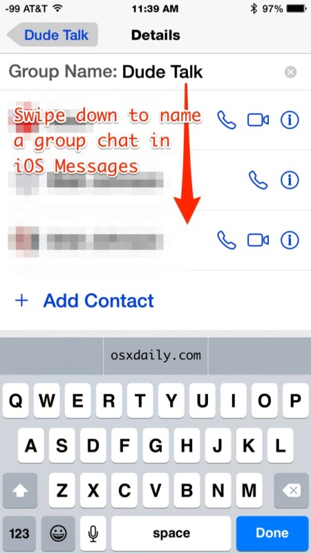 Name a group chat in iOS messages