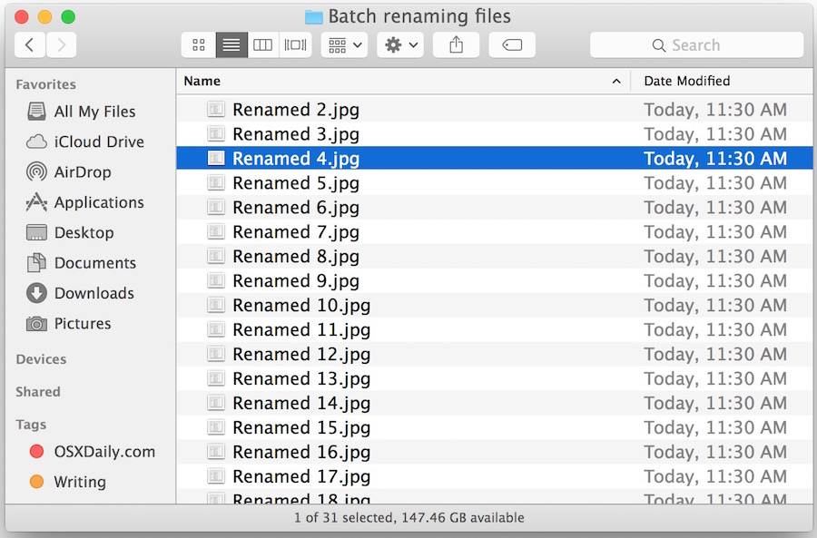 Batch renamed files in Mac OS X after going through the Finder Rename Item tool
