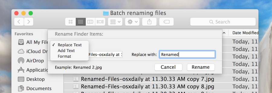 Other file modifications for batch renaming in Mac OS X