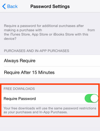Requires a password for free downloads in iOS
