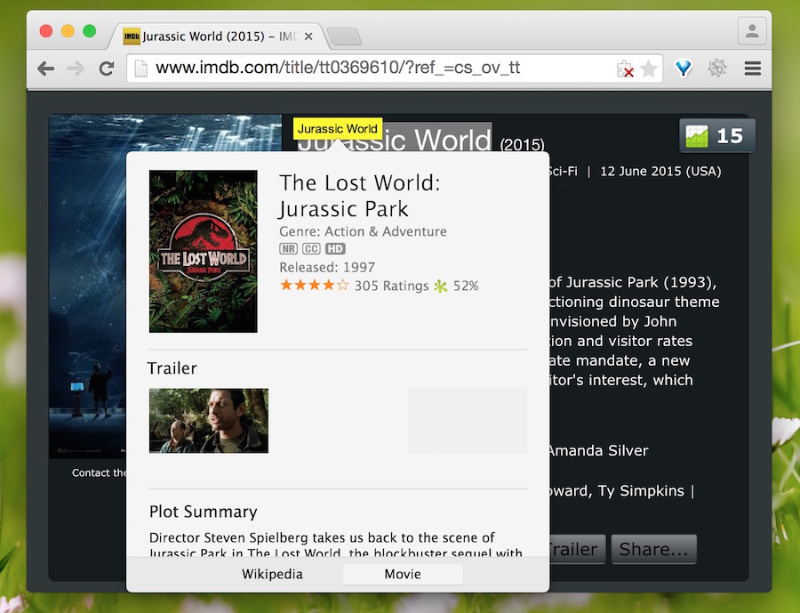 View movie times and details on web pages