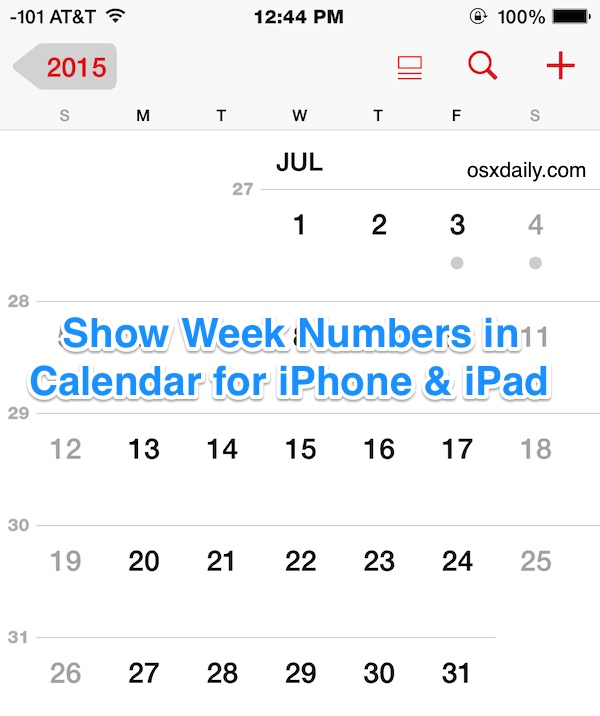 Show week numbers in the Calendar app for iOS