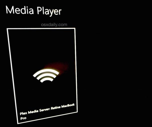 Media Player on Xbox One found the Plex server on a Mac