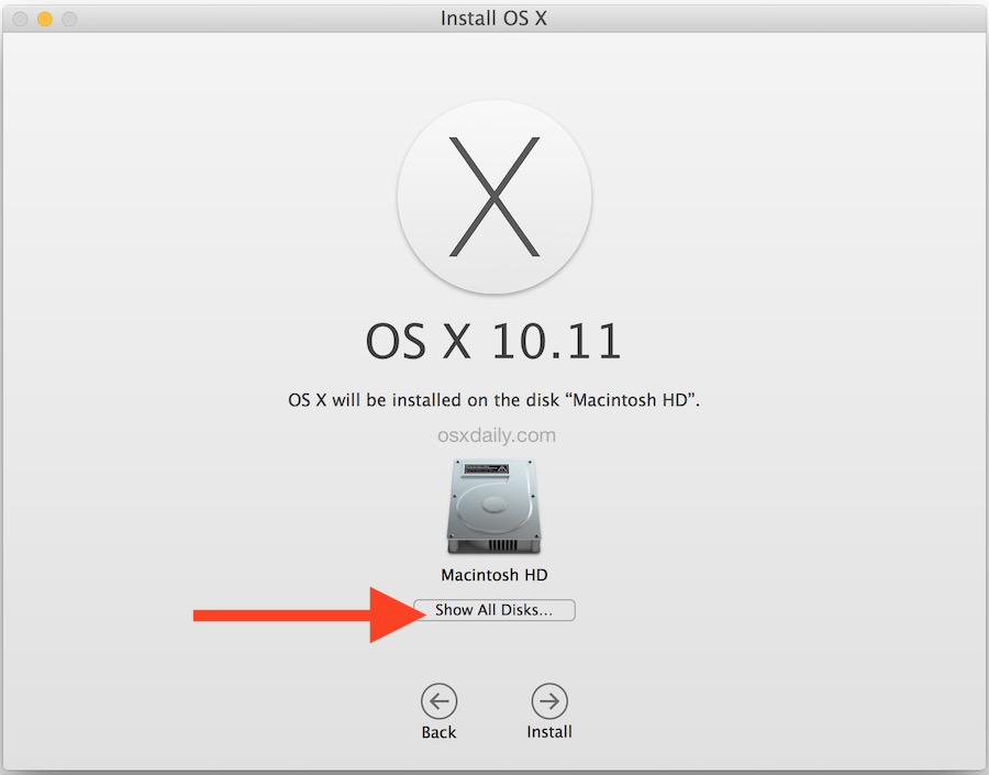 Show all drives for installing OS X on a separate partition