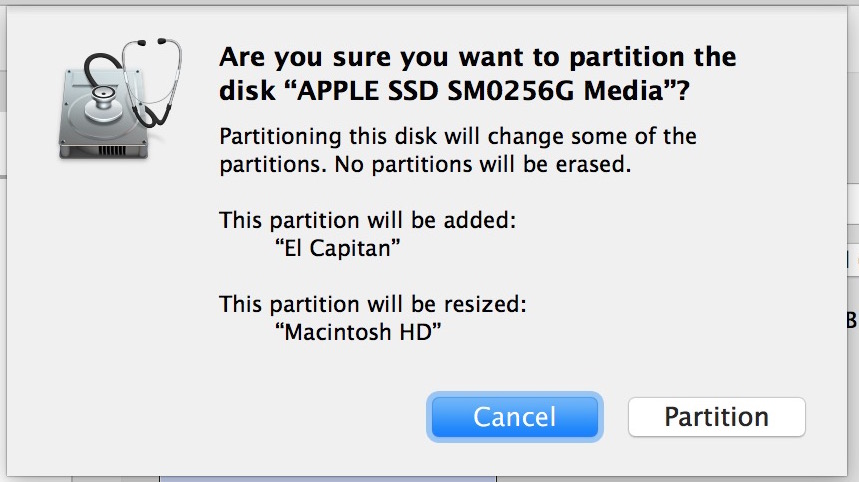 Confirm the creation of a new partition for El Capitan