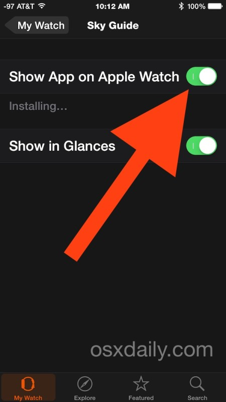 Install an app on Apple Watch from iPhone