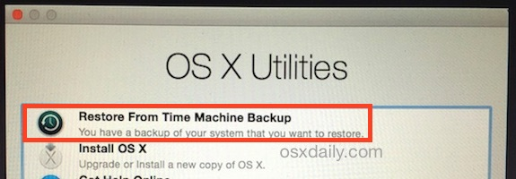 Recover a Mac from Time Machine when booting from Recovery HD
