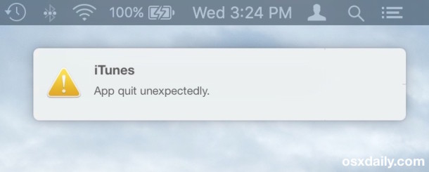 App Crash Reporter appears as a notification in Mac OS X