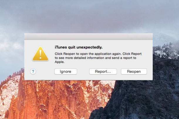 App unexpectedly quits crash report in Mac OS X