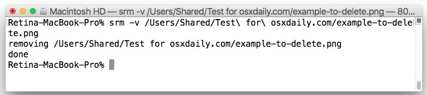 Safe deletion of a file with srm such as Secure Empty Trash in OS X