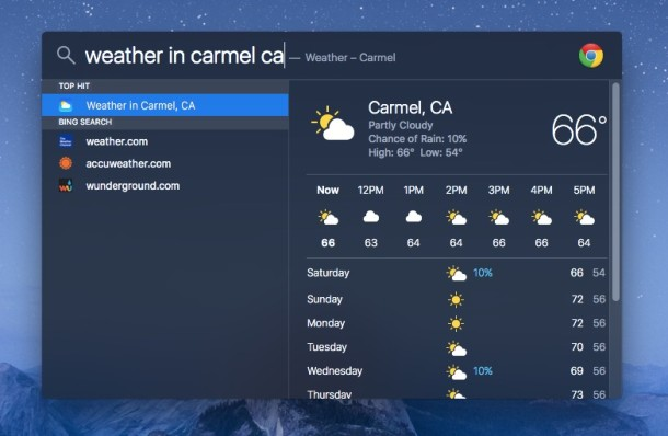 Find Weather in Spotlight for Mac