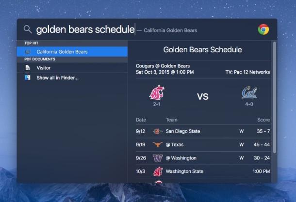 Find a sports team's schedule in Spotlight