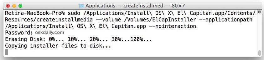 Create an OS X El Capitan bootable installation drive
