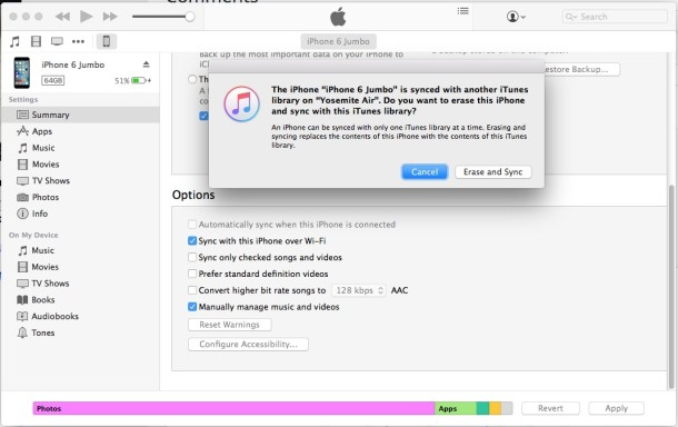 Erase iPhone and sync with iTunes library or not with the iTunes message