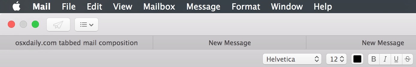 Tabbed emails in the Mail app for Mac OS X