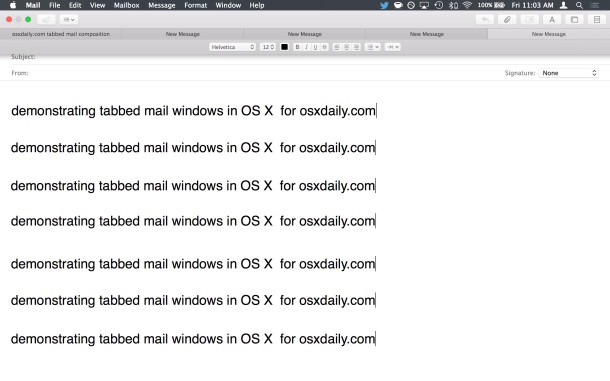 Demonstrate email tabs in the Mail app for OS X