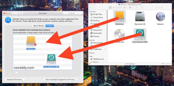 Prevent Spotlight from indexing external hard drives to speed it up up