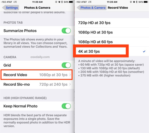 Enable 4K video recording on iPhone Camera