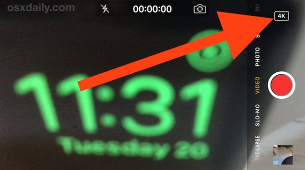 Record 4K video with iPhone Camera indicated by 4k badge