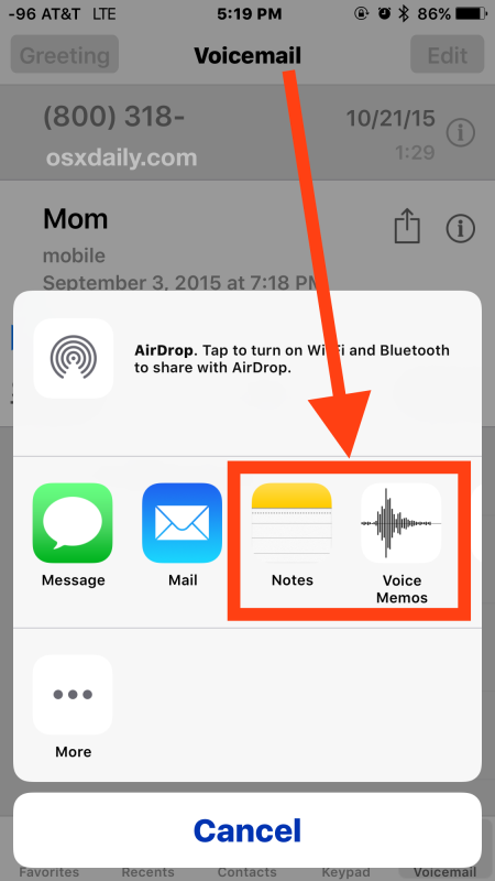 Save an iPhone voicemail on iPhone