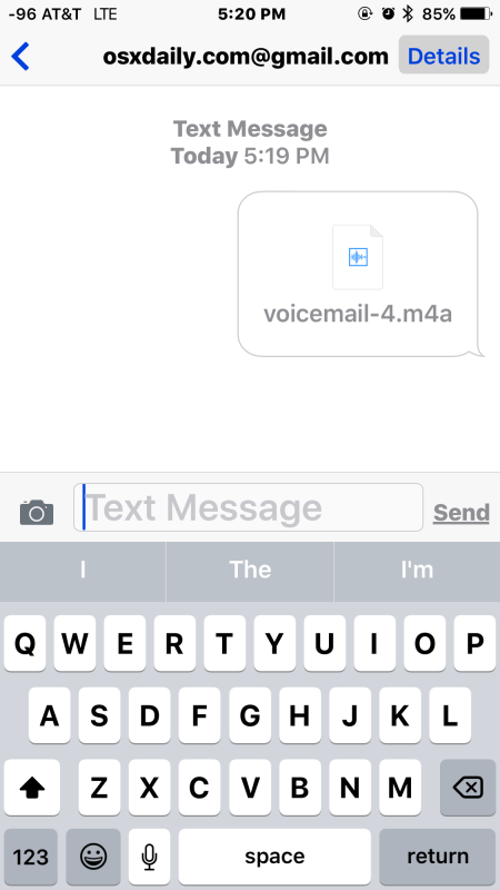 A voicemail shared via iMessage from iPhone