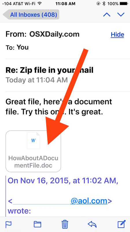 Tap the email attachment in the iOS mail app