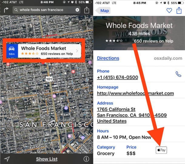 Go to a store for Apple Pay support in Maps for iOS