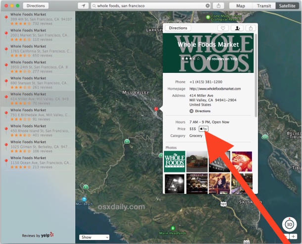 Go to a store for Apple Pay support in the Mac OS X Maps app