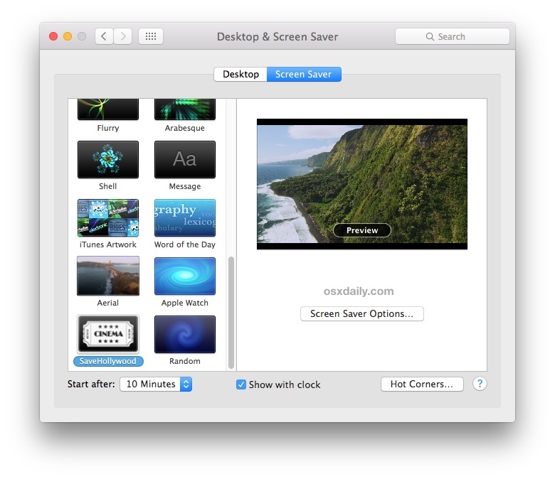 SaveHollywood plays videos as a screen saver in OS X