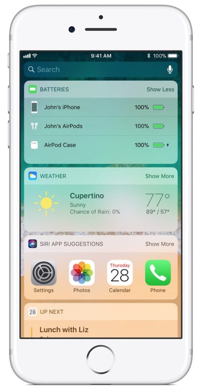 Find AirPods battery level and battery life in Batteries widget of iOS