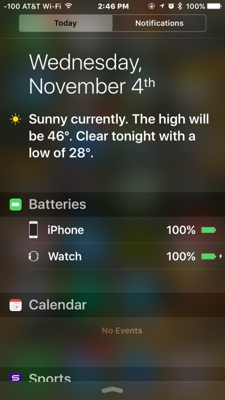 View the battery life of connected devices from iPhone, iPad, iPod touch Notification Center