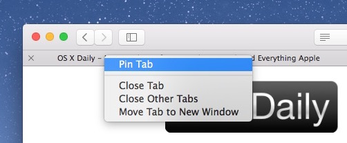 How to    right-click pin a tab in Safari